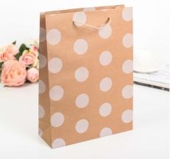 Крафт пакет, белый горох, размер 37*9*27 см