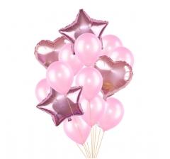 Связка шаров (4 фольгированных и 10 латексных) розовые