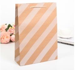 Крафт пакет, белая диагональ, размер 41*9*31 см