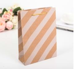 Крафт пакет, белая диагональ, размер 24*7,5*19 см