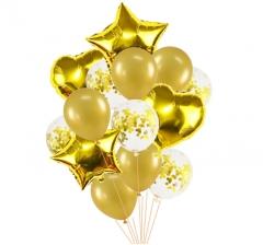 Связка шаров (4 фольгированных, 5 латексных хром и 5 с конфетти) золото