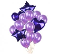 Связка шаров (4 фольгированных, 10 латексных) фиолетовые