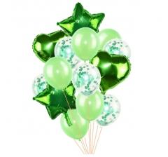 Связка шаров (4 фольгированных, 5 латексных и 5 с конфетти) зеленые