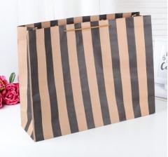 Крафт пакет в черную полоску, размер 37*14*49 см
