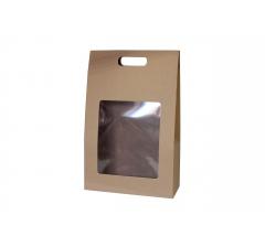 Коробка-переноска с окном 250*105*390 мм, крафт