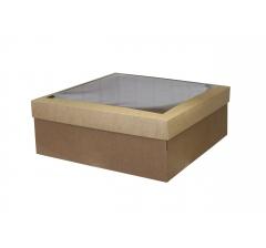 Коробка подарочная 400*400*150 мм с прозрачной крышкой