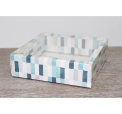 Коробка с прозрачной крышкой 175*175*50 мм, дизайн 2020-24, с цветным дном