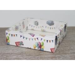 Коробка с прозрачной крышкой 175*175*50 мм, дизайн 2020-22 , с цветным дном