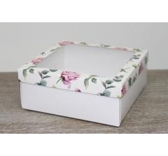 Коробка подарочная 19*19*8 см, дизайн 2020-12 с белым дном
