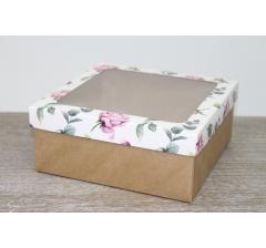 Коробка подарочная 19*19*8 см, дизайн 2020-12 с крафт дном