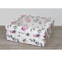 Коробка подарочная 19*19*8 см, дизайн 2020-12, полноцветная с окном