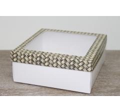 Коробка подарочная 19*19*8 см, дизайн 2020-11 с белым дном