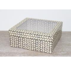 Коробка подарочная 19*19*8 см, дизайн 2020-11, полноцветная с окном