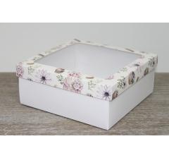 Коробка подарочная 19*19*8 см, дизайн 2020-10 с белым дном