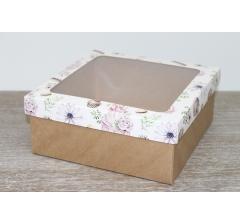 Коробка подарочная 19*19*8 см, дизайн 2020-10 с крафт дном