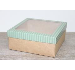 Коробка подарочная 19*19*8 см, дизайн 2020-9 с крафт дном