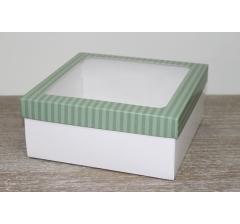 Коробка подарочная 19*19*8 см, дизайн 2020-9 с белым дном