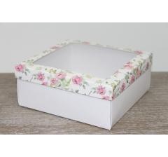 Коробка подарочная 19*19*8 см, дизайн 2020-8 с белым дном