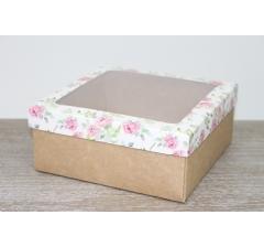 Коробка подарочная 19*19*8 см, дизайн 2020-8 с крафт дном