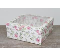 Коробка подарочная 19*19*8 см, дизайн 2020-8, полноцветная с окном