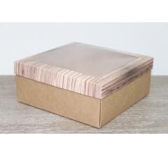 Коробка подарочная 19*19*8 см, дизайн 2020-7 с крафт дном