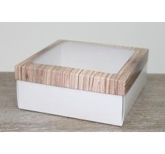 Коробка подарочная 19*19*8 см, дизайн 2020-7 с белым дном