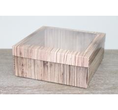 Коробка подарочная 19*19*8 см, дизайн 2020-7, полноцветная с окном