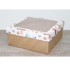 Коробка подарочная 19*19*8 см, дизайн 2020-6 с крафт дном