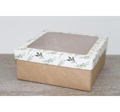 Коробка подарочная 19*19*8 см, дизайн 2020-5 с крафт дном