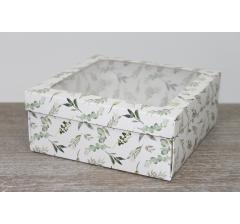 Коробка подарочная 19*19*8 см, дизайн 2020-5, полноцветная с окном