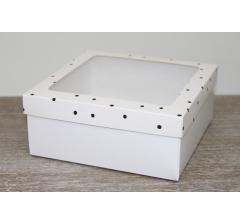 Коробка подарочная 19*19*8 см, дизайн 2020-4 с белым дном