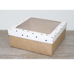 Коробка подарочная 19*19*8 см, дизайн 2020-4 с крафт дном