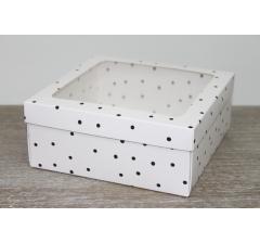 Коробка подарочная 19*19*8 см, дизайн 2020-4, полноцветная с окном