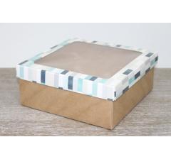 Коробка подарочная 19*19*8 см, дизайн 2020-3 с крафт дном