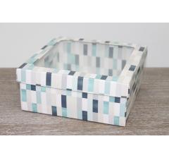 Коробка подарочная 19*19*8 см, дизайн 2020-3, полноцветная с окном