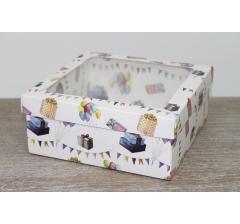 Коробка подарочная 19*19*8 см, дизайн 2020-2, полноцветная с окном