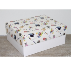 Коробка подарочная 280*230*120 мм, дизайн 2020-9, с белым дном