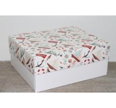Коробка подарочная 280*230*120 мм, дизайн 2020-4, с белым дном