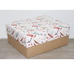 Коробка подарочная 280*230*120 мм, дизайн 2020-4, с крафт дном