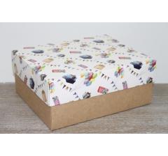 Коробка подарочная 280*230*120 мм, дизайн 2020-9, с крафт дном