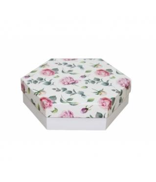 Коробка подарочная 200*200*60 мм, дизайн 2020-4, белое дно