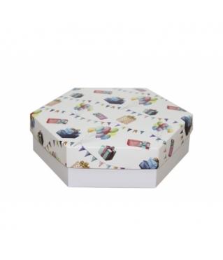 Коробка подарочная 200*200*60 мм, дизайн 2020-8, белое дно
