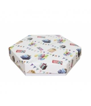 Коробка подарочная 200*200*40 мм, дизайн 2020-8, белое дно
