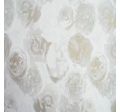 Бумага гофрированная 50 см/10 м, белая с серо-золотыми розами