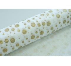 Джутовая ткань 50 см/ 4,5 м, белая в золотые круги