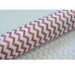 Джутовая ткань 50 см/ 4,5 м, белая в блестящие бордовые зигзаги