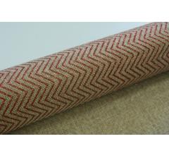 Джутовая ткань 50 см/ 4,5 м, натуральная в блестящие бордовые зигзаги