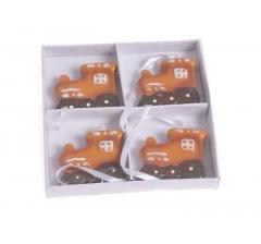 Елочная игрушка: набор из 4-ех паровозов