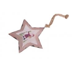 Звезда металлическая с дедом морозом 10 см