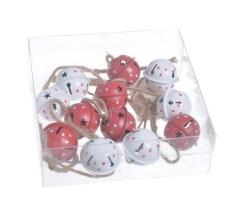 Набор из 12-ти звонков металлических белых и красных в точки (3*2,5 см)